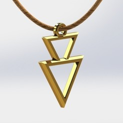 STL Geometric Double Triangle Pendant, ShineNow