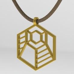 Télécharger fichier STL Pendentif géométrique en forme d'hexagone rayé, ShineNow