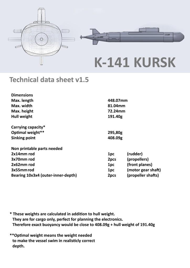 Datasheetv15_display_large.jpg Download free STL file K-141 Kursk • 3D print template, Rusichar