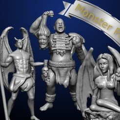 monster pack 3.jpg Download STL file Demon Succubus Giant Pack • 3D printing model, MadcapMiniatures