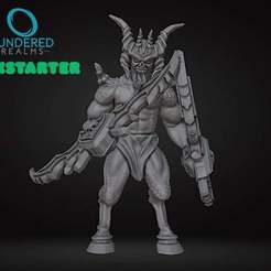thingiverse_horned1.jpg Download free STL file Horned Demon • Object to 3D print, MadcapMiniatures