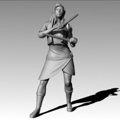 3D printer models Dual wielding warrior, MadcapMiniatures
