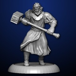 Free 3D printer files Warrior with Hammer, MadcapMiniatures