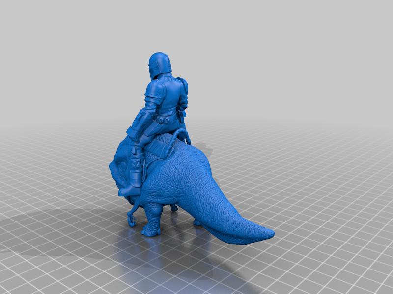 """mando-riding-a-small-blurrg.png Télécharger fichier STL gratuit Mando chevauchant un Blurrg (de l'émission """"The Mandalorian"""") • Modèle pour impression 3D, artspam"""