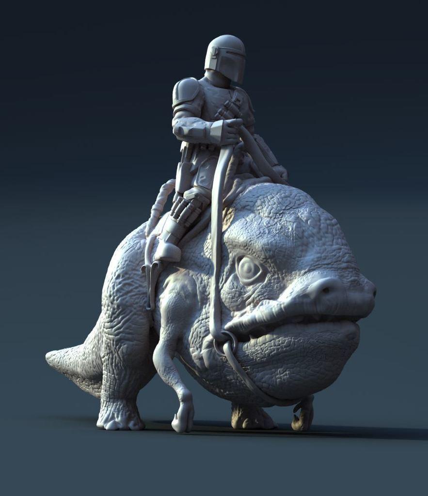 """mando-riding-a-blurrg.JPG Télécharger fichier STL gratuit Mando chevauchant un Blurrg (de l'émission """"The Mandalorian"""") • Modèle pour impression 3D, artspam"""