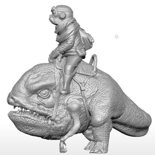 blurrg-w-kuiil2.jpg Télécharger fichier STL gratuit Kuiil sur un flurrg • Objet pour imprimante 3D, artspam