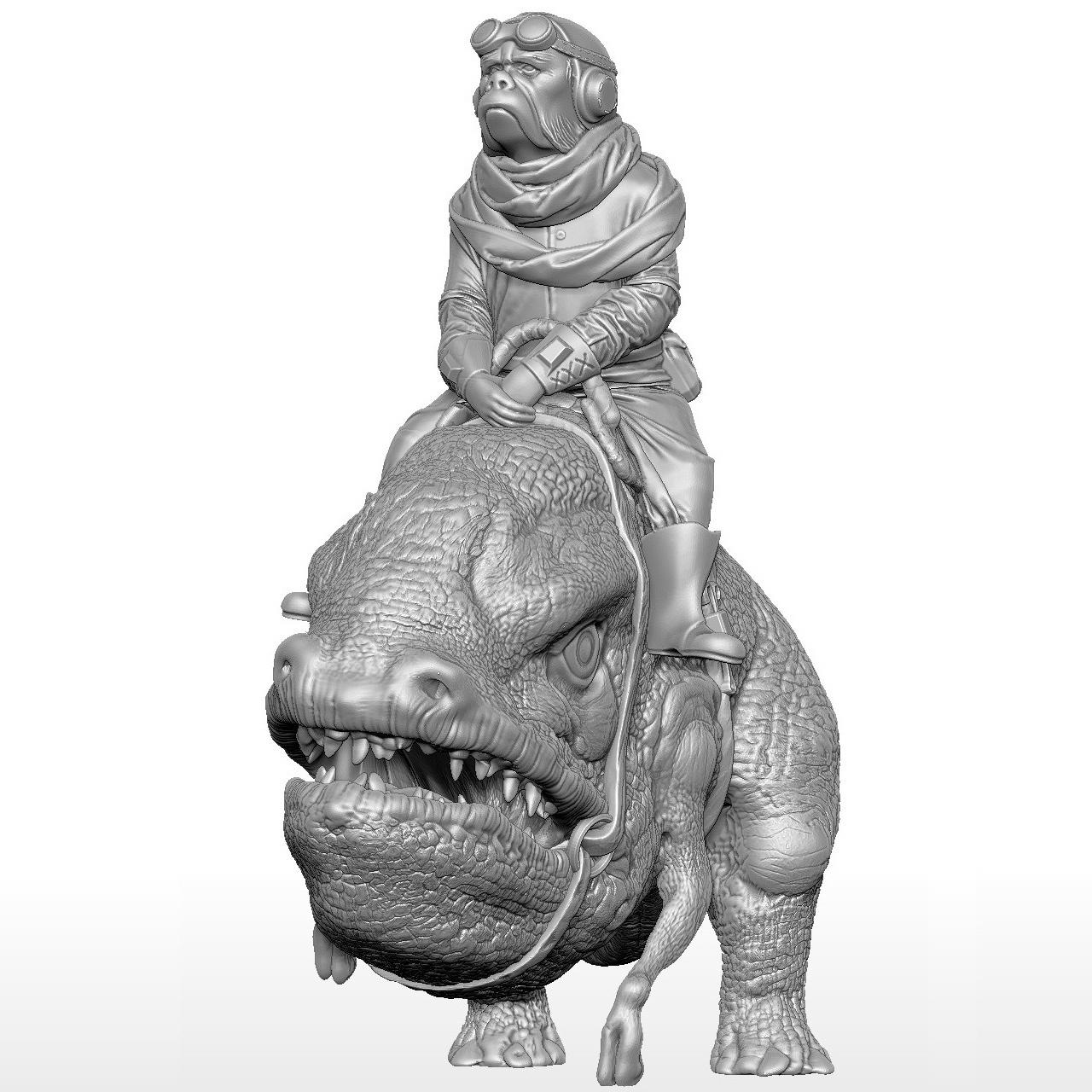 blurrg-w-kuiil1.jpg Télécharger fichier STL gratuit Kuiil sur un flurrg • Objet pour imprimante 3D, artspam