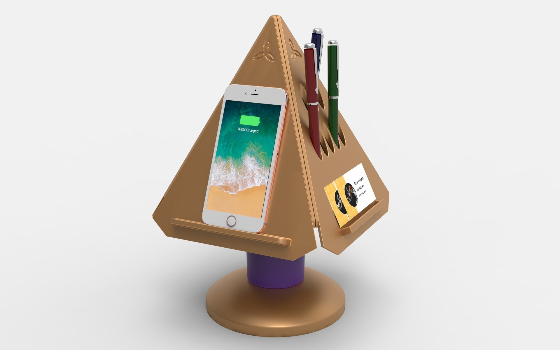 PRISM Phone and pen.jpg Download free STL file Prism - Smart Desk Assistant • 3D print model, TrinityCraftsInc