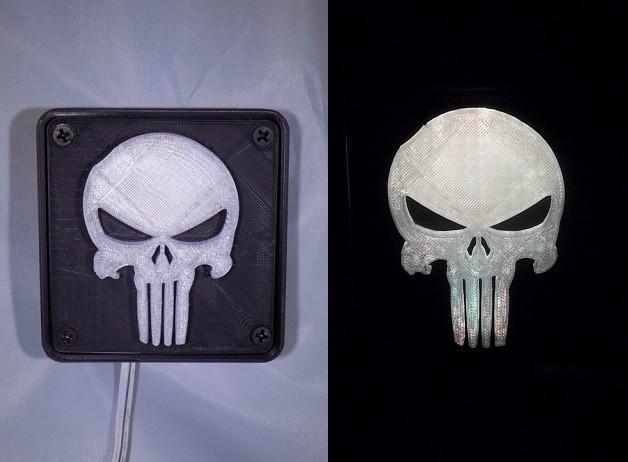 combine_images4_display_large.jpg Download free STL file Punisher LED Light/Nightlight • 3D printer object, Balkhagal4D