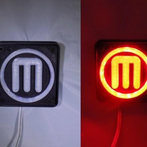 combine_images_display_large.jpg Télécharger fichier STL gratuit Makerbot M Logo Lampe de nuit/lampe de nuit LED • Design à imprimer en 3D, Balkhagal4D