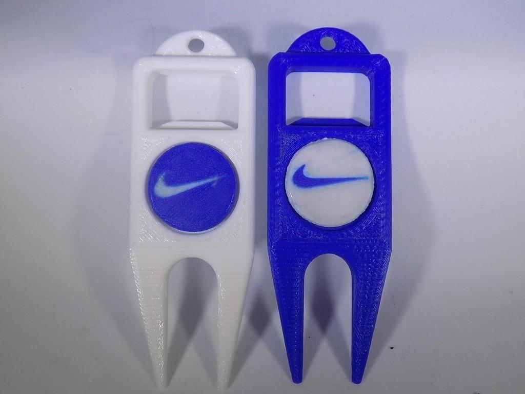 1_display_large.JPG Download free STL file NIKE Golf Ball Marker • 3D printing template, Balkhagal4D