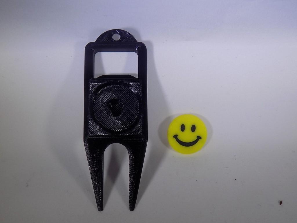 2_display_large.JPG Download free STL file SMILEY FACE Golf Ball Marker • 3D printing design, Balkhagal4D