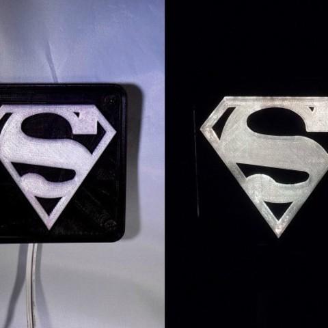 combine_images_display_large.jpg Télécharger fichier STL gratuit SUPERMAN LED Lumière / Lumière de nuit • Plan imprimable en 3D, Balkhagal4D