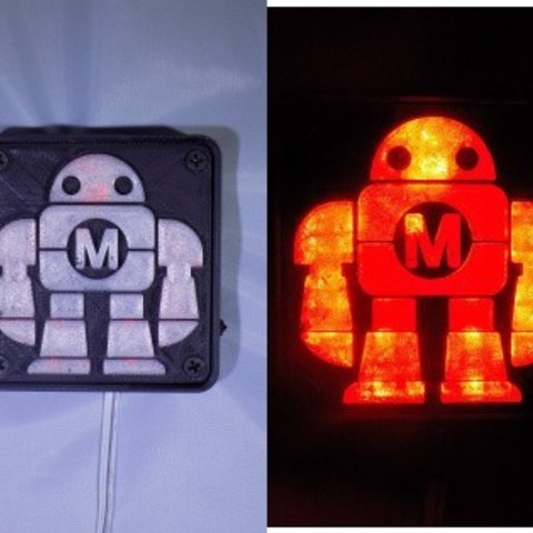 combine_images_display_large.jpg Download free STL file Maker Faire LED Robot sign/nightlight • 3D printer object, Balkhagal4D