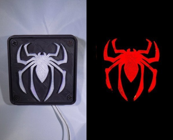 combine_images_display_large.jpg Download free STL file SPIDERMAN LED Light/Nightlight • 3D print design, Balkhagal4D