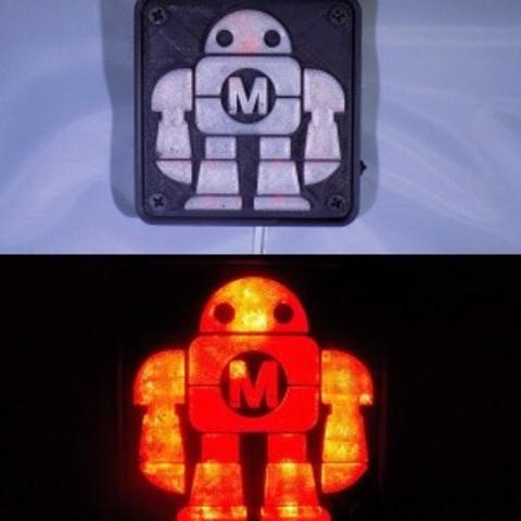 combine_images_display_large.jpg Télécharger fichier STL gratuit Maker Faire LED Enseigne de robot / veilleuse de nuit • Objet à imprimer en 3D, Balkhagal4D