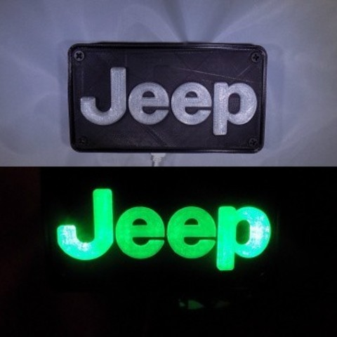 Free 3D printer files Jeep Emblem LED Light/Nightlight, Balkhagal4D