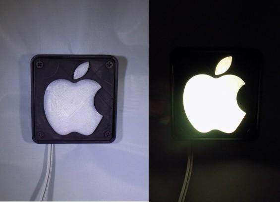 combine_images_display_large.jpg Télécharger fichier STL gratuit Lampe de nuit / Lampe de nuit à DEL avec logo Apple • Plan pour imprimante 3D, Balkhagal4D