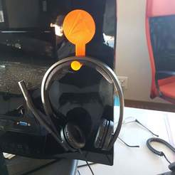 Download free 3D printer templates Support audio headphone for screen / Headphone support for screen., Manu_Burgundy