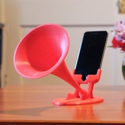 Free 3D printer designs GRAMiPhone Fixed - iPhone 6 Gramophone Horn, Pudedrik
