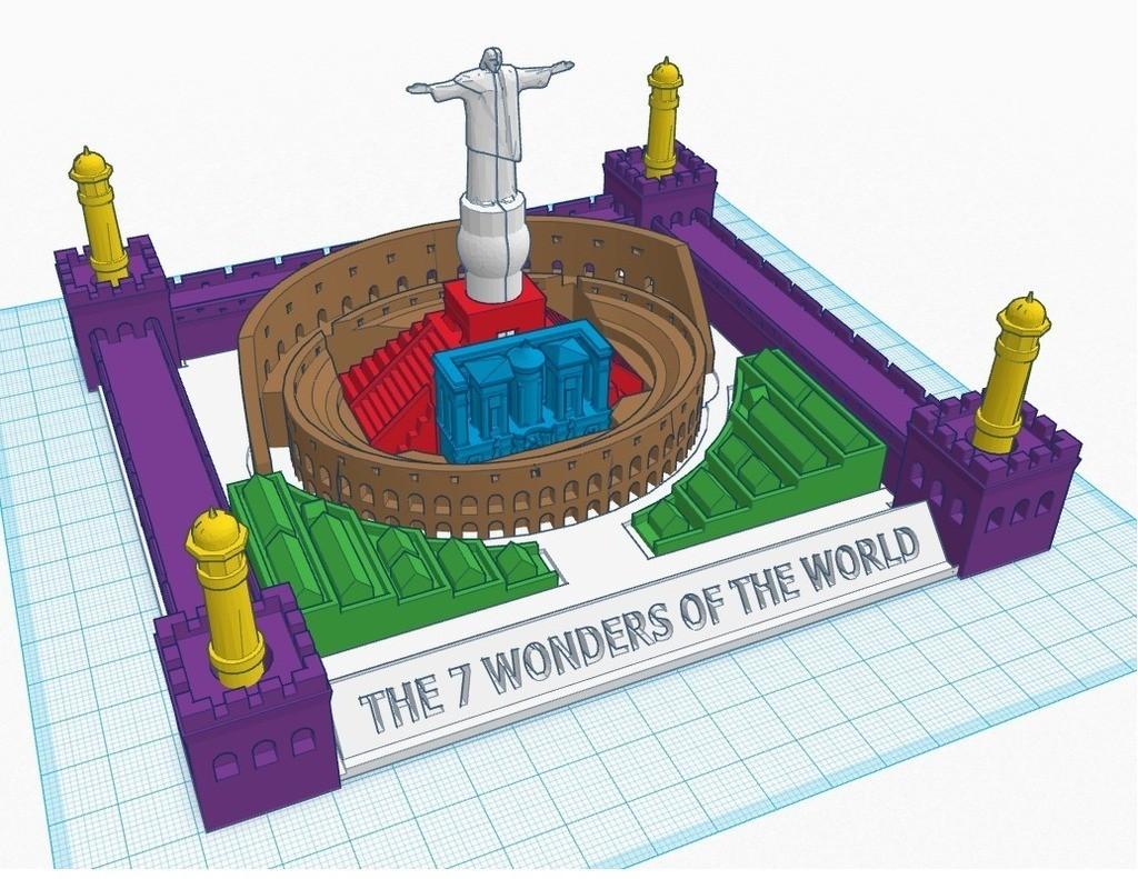 7_wonders_puzzle_display_large.jpg Télécharger fichier STL gratuit Nouveau casse-tête des 7 merveilles • Design pour impression 3D, Beardoric