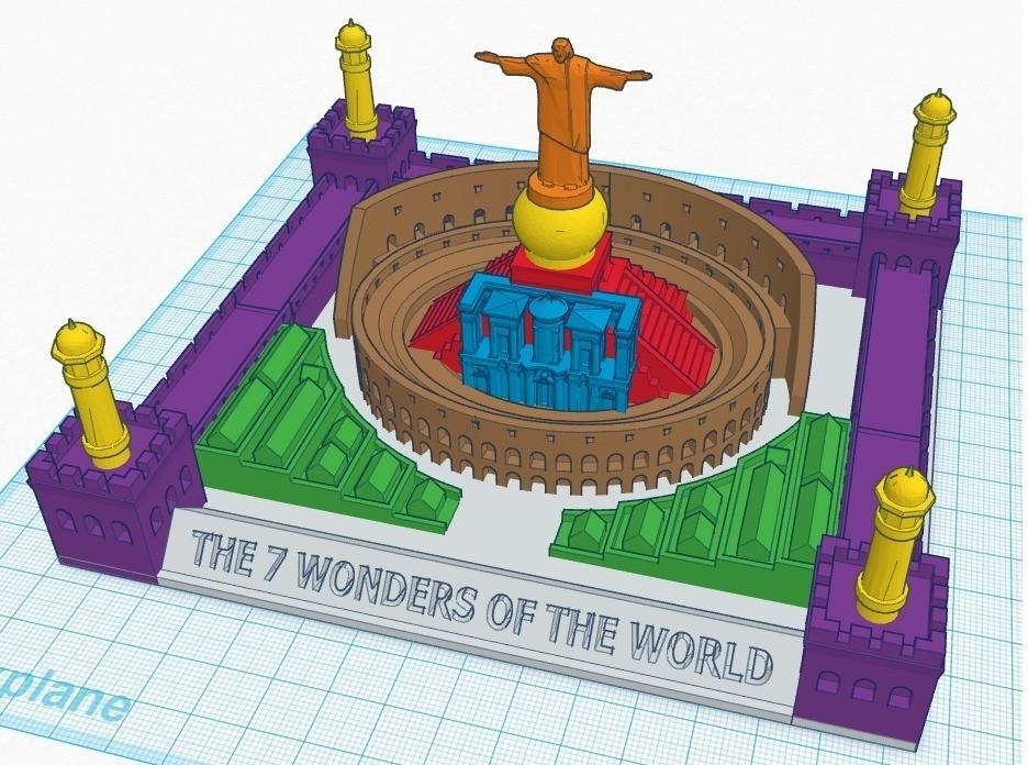 7_wonders_colored_display_large.jpg Télécharger fichier STL gratuit Nouveau casse-tête des 7 merveilles • Design pour impression 3D, Beardoric