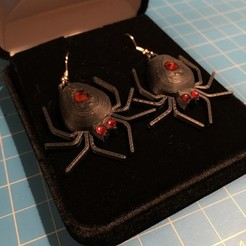 Download free 3D printing files Spider Set - Earrings (5mm body gem and 3mm eyes), Balkhubal