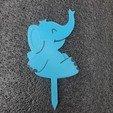 Download free STL file Cake Topper_Elephant_(Baby Shower) • 3D printing template, Desde_el_Almacen