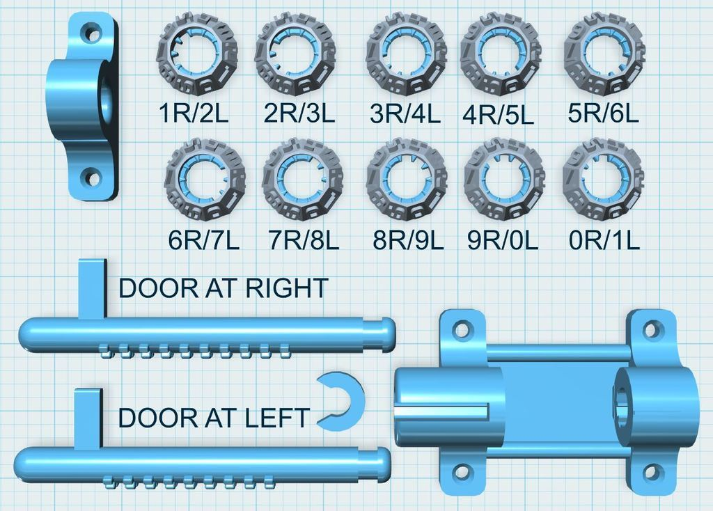 DESPIECE-PLANO.JPG Download free STL file Latch Cryptex - Cerrojo • 3D printable design, xutano