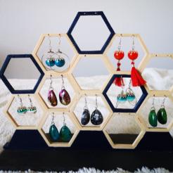 Télécharger modèle 3D Support Boucles d'Oreilles Hexagonal, ishikaboy
