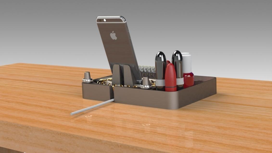 Jewelry Box (9).jpg Télécharger fichier STL gratuit Organisateur de maquillage Smart Dock • Design à imprimer en 3D, Trikonics