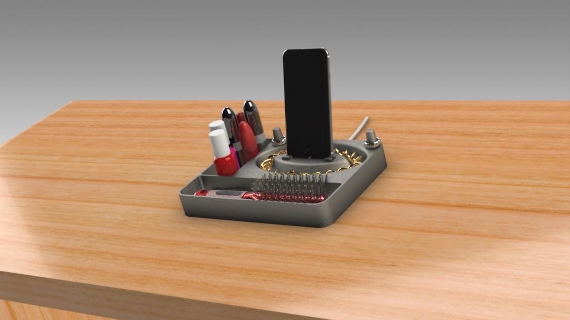 Jewelry Box (2).jpg Télécharger fichier STL gratuit Organisateur de maquillage Smart Dock • Design à imprimer en 3D, Trikonics