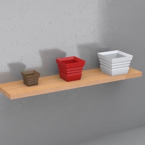 3D print files Flower Pot Set - Contemporary , Trikonics