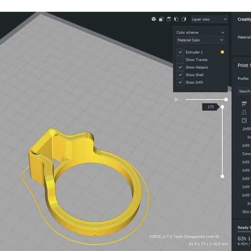 Cura-1.JPG Download free STL file Tesla Model 3 - SAE J1772 Adapter Lock Charger • 3D printing template, Trikonics