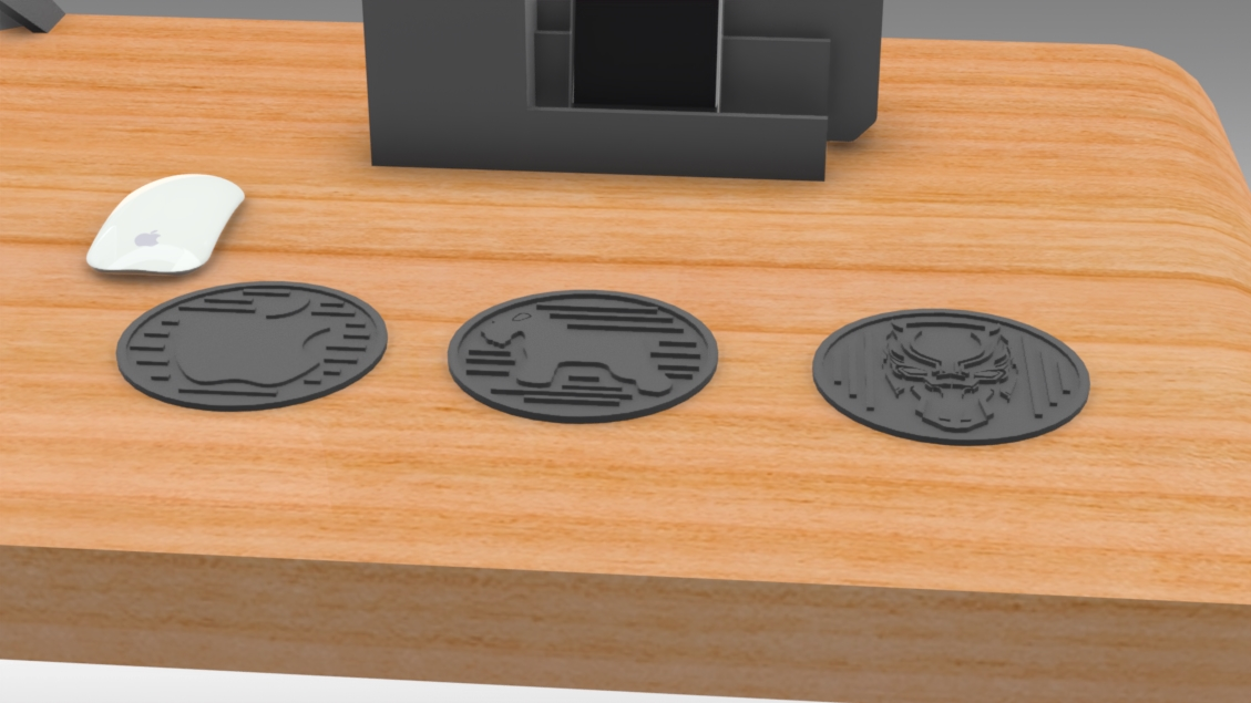 Untitled 473.jpg Download free STL file Drink Coasters Themed characters: Black Panther, Schnauzer, Apple Logo • 3D printing model, Trikonics