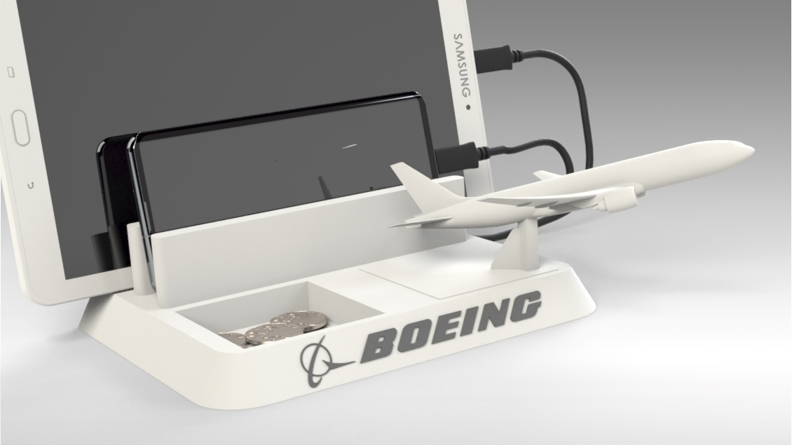 Untitled 631.jpg Download STL file BOEING - ANDROID - CELL PHONE AND TABLET HOLDER • 3D printing model, Trikonics