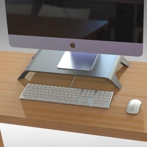 STL files Monitor Stand LARGE - NEW SIMPLE 2 PIECE DESIGN, Trikonics