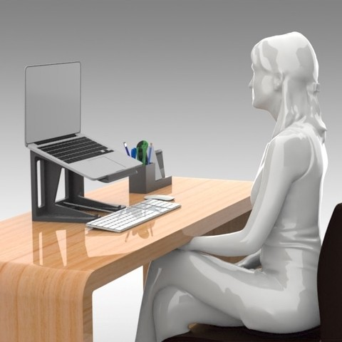 Download 3D printer designs Posture Laptop Stand - Tall Height, Trikonics