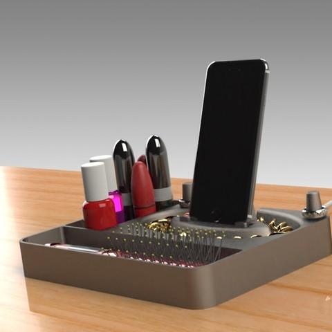 Jewelry Box (6).jpg Télécharger fichier STL gratuit Organisateur de maquillage Smart Dock • Design à imprimer en 3D, Trikonics