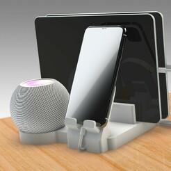 Untitled 722.jpg Télécharger fichier STL APPLE HOMEPOD MINI ET iPhone DOCKING STATION • Plan pour impression 3D, Trikonics
