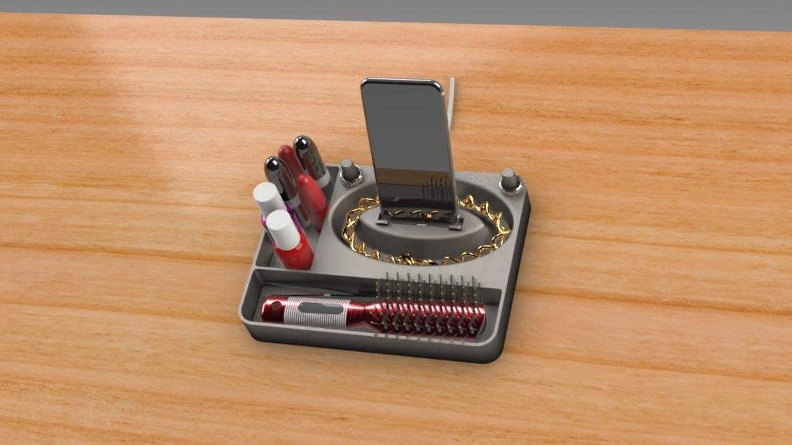 Jewelry Box (3).jpg Télécharger fichier STL gratuit Organisateur de maquillage Smart Dock • Design à imprimer en 3D, Trikonics