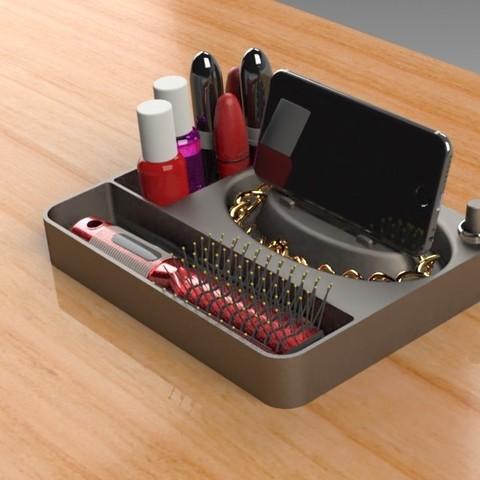 Jewelry Box (1).jpg Télécharger fichier STL gratuit Organisateur de maquillage Smart Dock • Design à imprimer en 3D, Trikonics