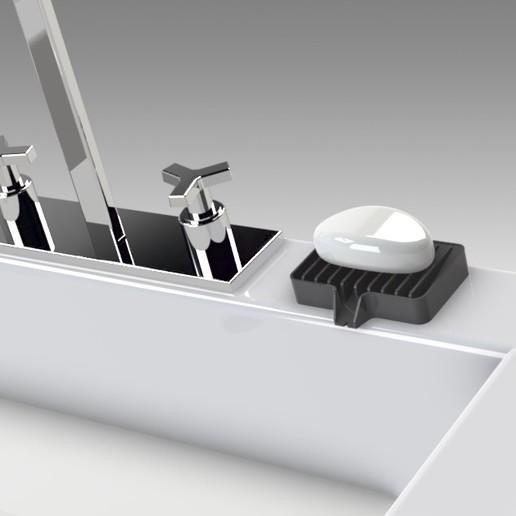 Untitled 626.jpg Télécharger fichier STL gratuit Porte-savon Lave-toi les mains, sois prudent 👍🏻 • Objet pour imprimante 3D, Trikonics