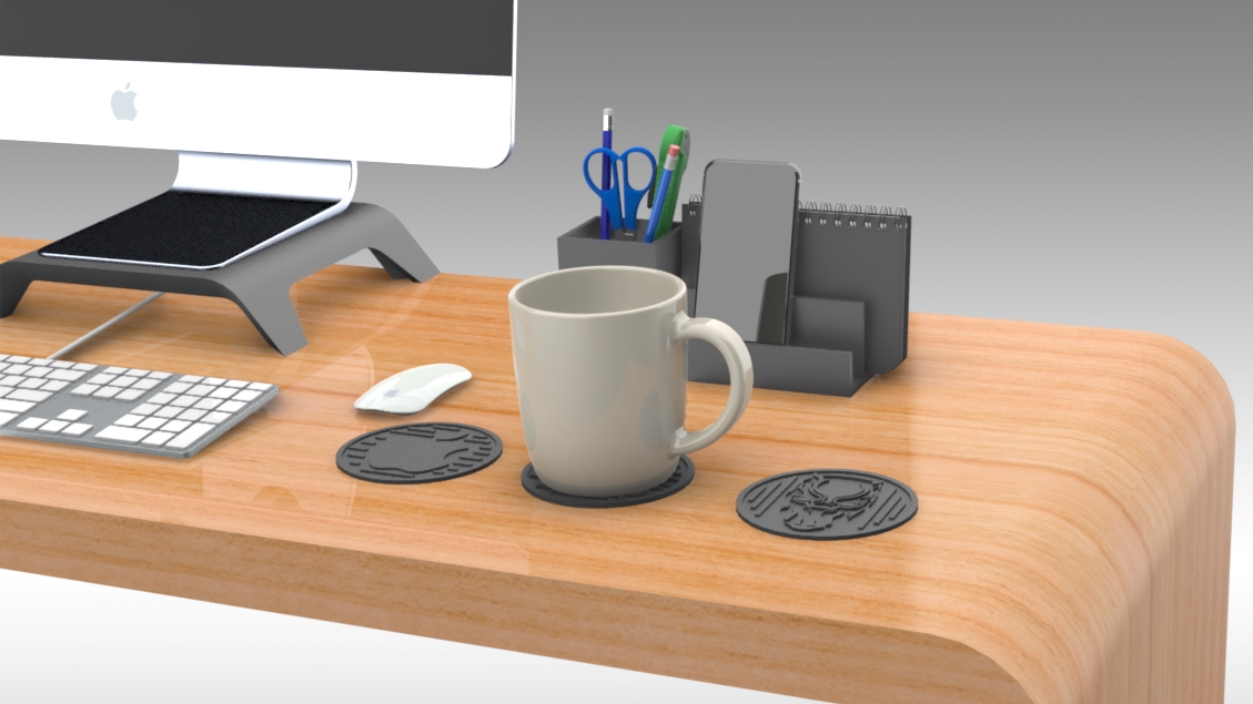 Untitled 476.jpg Download free STL file Drink Coasters Themed characters: Black Panther, Schnauzer, Apple Logo • 3D printing model, Trikonics