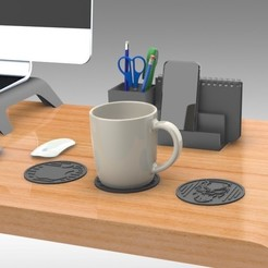 Download free 3D printer model Drink Coasters Themed characters: Black Panther, Schnauzer, Apple Logo, Trikonics