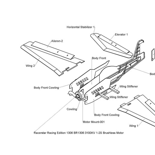 Chuck Glider Assy DWG P2.JPG Download free STL file V1 Release - New RC Plane • 3D printable design, Trikonics