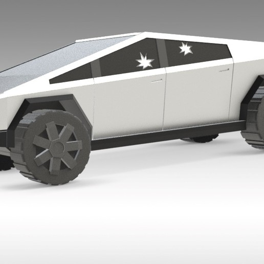 Download free 3D printing files TESLA Cybertruck 3D PRINTED MODEL - SPINNING WHEELS, Trikonics