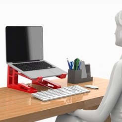 Download 3D printing designs POSTURE LAPTOP STAND - Medium HEIGHT, Trikonics