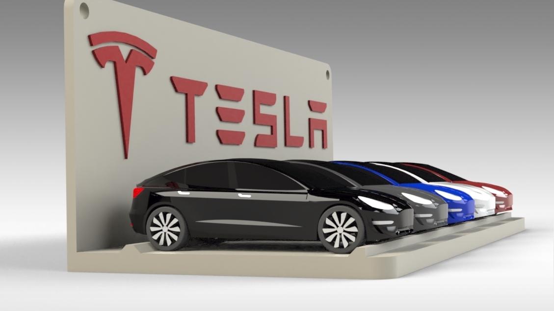 Untitled 692.jpg Download STL file Tesla Hot Wheels Stand • 3D printing model, Trikonics