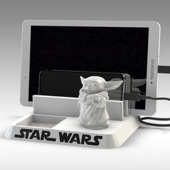 Download 3D printer templates BABY YODA - ANDROID - CELL PHONE AND TABLET HOLDER, Trikonics